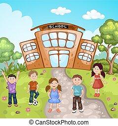 bâtiment, école, illustration