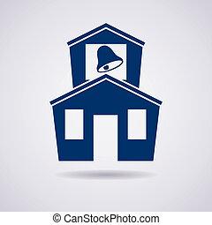 bâtiment, école, vecteur, icône