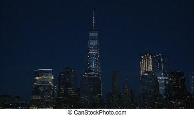 bâtiment, état, empire, nuit