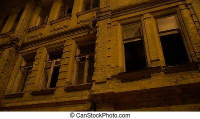 bâtiment, abandonnés, nuit