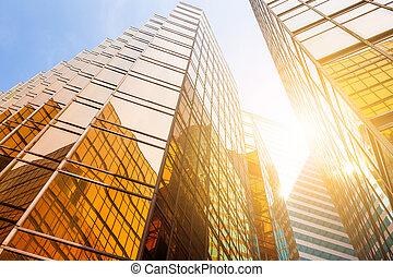 bâtiment, angle, bas, bureau