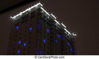 bâtiment, appartements, illumination