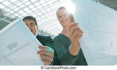 bâtiment, approbation, sourire, ingénieurs