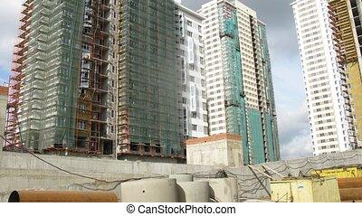 bâtiment, bâtiments, site, voitures, ascenseurs, grille, nouveau, aller, couvert