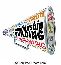 bâtiment, b, relation, fortifier, bullhorn, porte voix, amitié