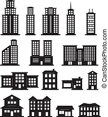bâtiment, blanc, noir