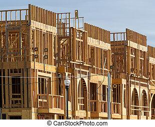 bâtiment, bleu, appartement, ensoleillé, ciel, construction, fond, sous, nouveau jour