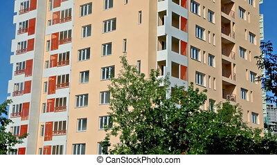 bâtiment, bleu, appartement, fond, sommet, ciel, fond, nouveau