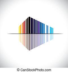 bâtiment, bleu, bureau, etc, ceci, commercial, graphic., moderne, -, illustration, aimer, orange, couleurs, vecteur, architecture, noir, rouges, coloré, résumé, structure, icône