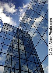 bâtiment, bleu, nuages, reflet, business, ciel, verre