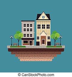 bâtiment, bleu, urbain, résidentiel, fond, maison