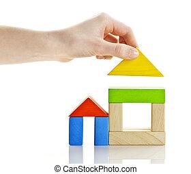 bâtiment, blocs bois