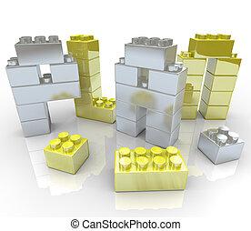 bâtiment, -, blocs jouet, plan