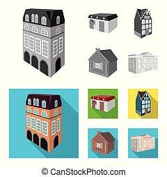 bâtiment, bois, résidentiel, style, hut., style, maison, symbole, ensemble, vecteur, fenetres, plat, petite maison, café, stockage, web., monochrome, architectural, icônes, bâtiment, illustration, collection, vitraux, anglaise