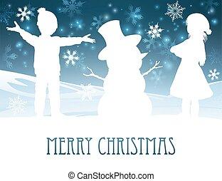 bâtiment, bonhomme de neige, scène, noël, enfants