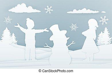bâtiment, bonhomme de neige, style, art, papier, enfants