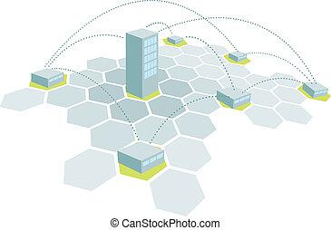 bâtiment, branches, réseau, bureau, quartiers généraux, /