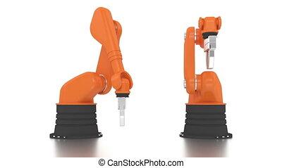 bâtiment, bras, industriel, robotique, br