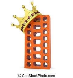 bâtiment, brique, couronne
