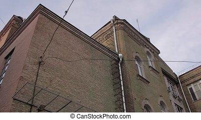 bâtiment, brique, vieux, extérieur
