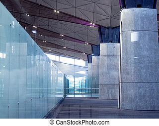 bâtiment, bureau, arrière-plan., moderne, vestibule, verre, aéroport, béton, interior., ou