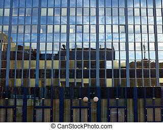 bâtiment bureau, constitué, moderne
