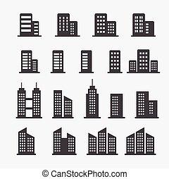 bâtiment, bureau, icône