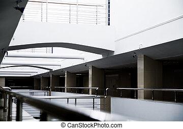 bâtiment, bureau, moderne, métal, détails, intérieur, colonnes