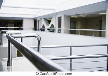 bâtiment, bureau, moderne, métal, détails, intérieur