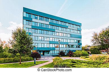 bâtiment, business, architecture moderne, verre, rue ville, bureau