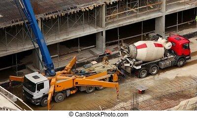 bâtiment, car-concrete, site, mélangeur, car-crane