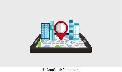 bâtiment, carte, ville, mobile, indicateur, gps, navigation, 3d
