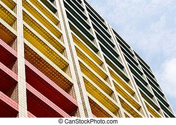 bâtiment, ciel bleu, coloré, sous