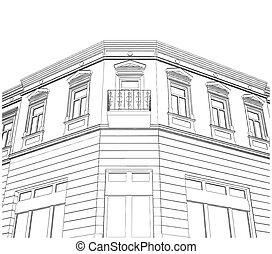 bâtiment, coin, maison, éclectique