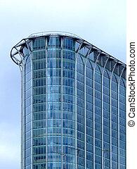 bâtiment, coin, verre