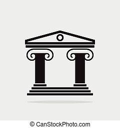 bâtiment, colonnes grecques, ancien, icône, vecteur, architecture