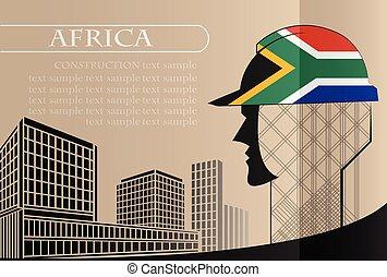 bâtiment, concept.-, fait, fonctionnement, industrie, afrique, drapeau, vecteur, illustration, logo