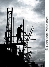 bâtiment, constructeur, échafaud, site