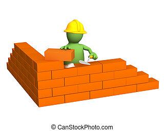 bâtiment, constructeur, mur, -, marionnette, brique, 3d