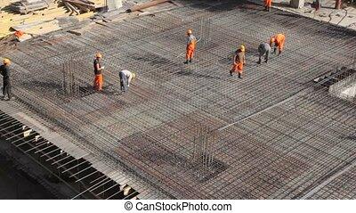 bâtiment, construire, ouvriers, métal, endroit, cadre
