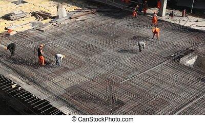 bâtiment, construire, ouvriers, métal, site, cadre
