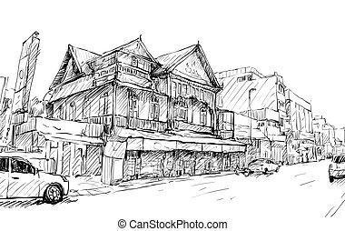 bâtiment, croquis, vieux, exposition, rue, asie, vecteur, illustration, cityscape, thaïlande, style