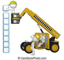 bâtiment, cubes, gens, équipement, construction, pile