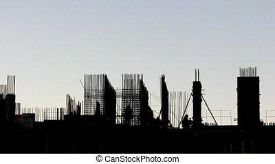 bâtiment, défaillance, construction, temps, evening.