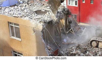 bâtiment, démolition, béton