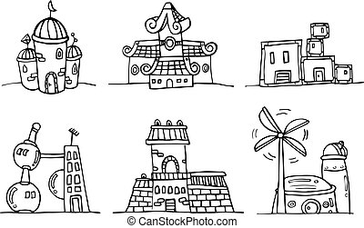 bâtiment, dessin animé