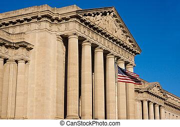 bâtiment, devant, drapeau, voler, gouvernement