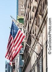 bâtiment, drapeau, historique, américain