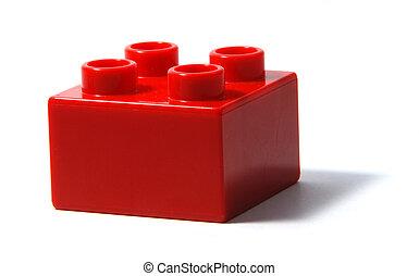 bâtiment, duplo, bloc, rouges