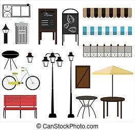 bâtiment., ensemble, déchets ménagers, design., rue, signes, meubles, rue, articles, banc jardin, marquises, ou, vecteur, maison, barrière, parc, décorer, bicycles, lampes, cheminée, boîtes, magasin